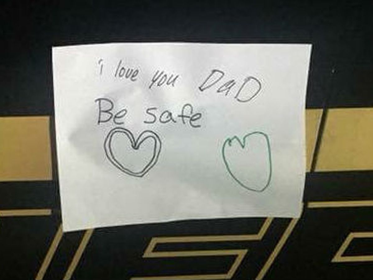 A simple gesture: 'I love you Dad. Be safe.'