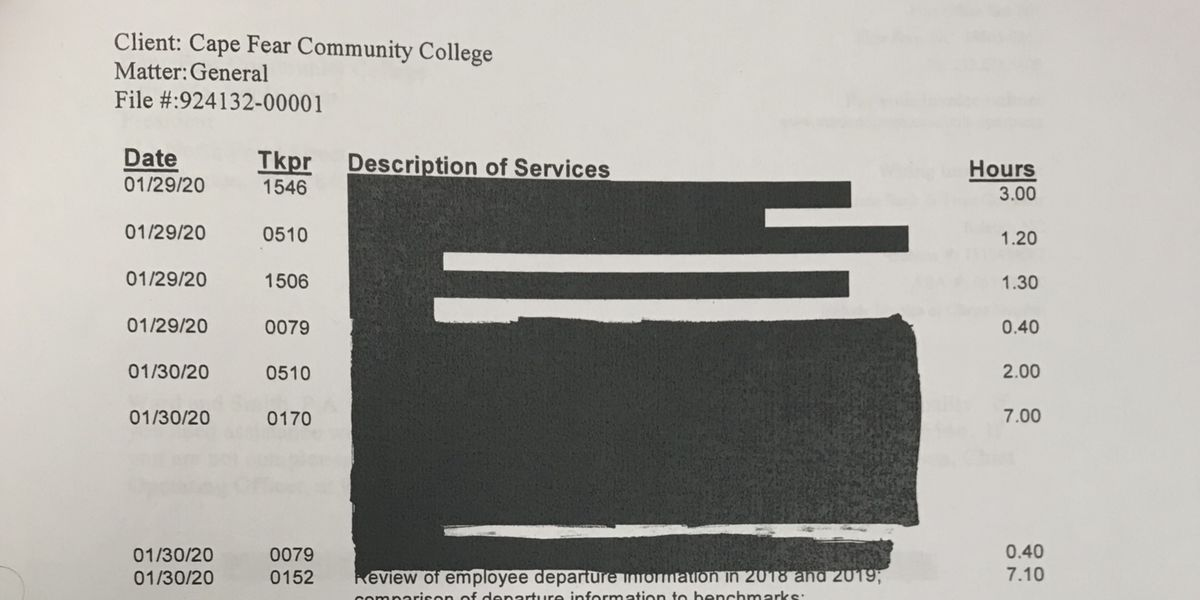 CFCC provides heavily redacted legal bills after WECT hires attorney
