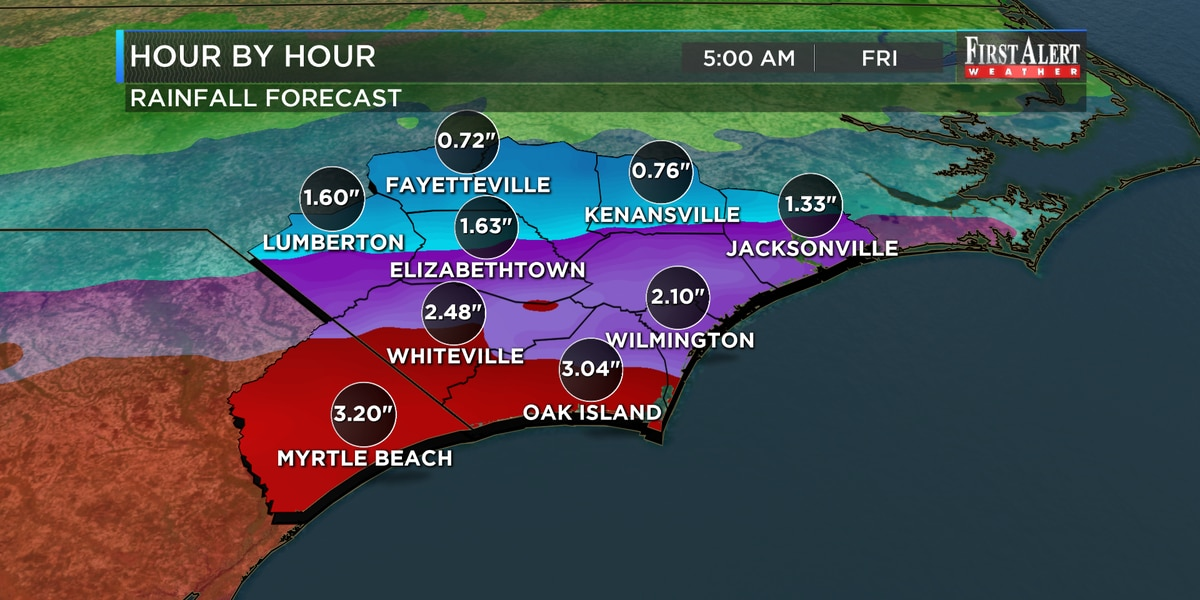 First Alert Forecast: rain, heavy at times, for tonight and Thursday