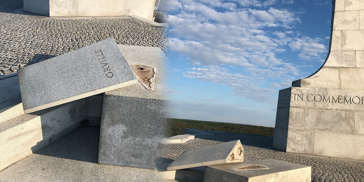 Wright Brothers National Memorial vandalized, copper bust stolen