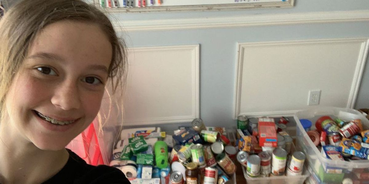 After watching a news story about the need at food banks, sixth grader organizes food donation drive