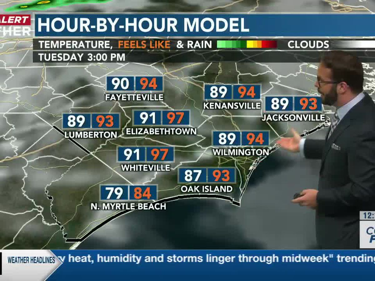 First Alert Forecast: summery heat, humidity and storms linger through midweek