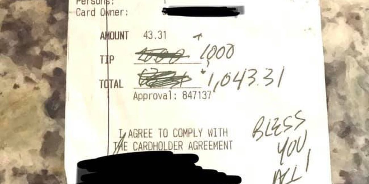 """""""There's so much kindness in this world"""": Restaurant owner reacts to $1,000 tip"""