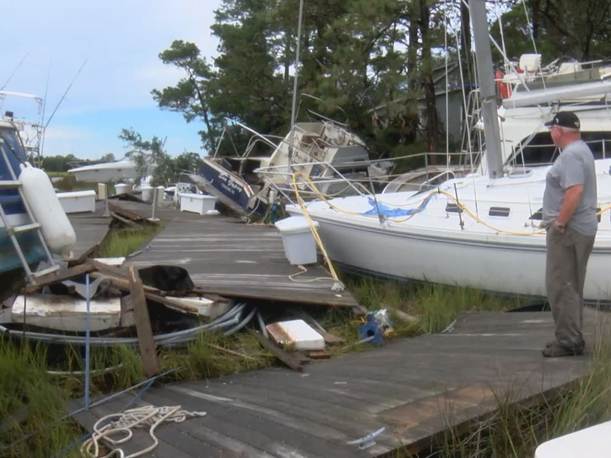 Isaias storm surge pushes nearly 20 boats from marina into Southport neighborhood