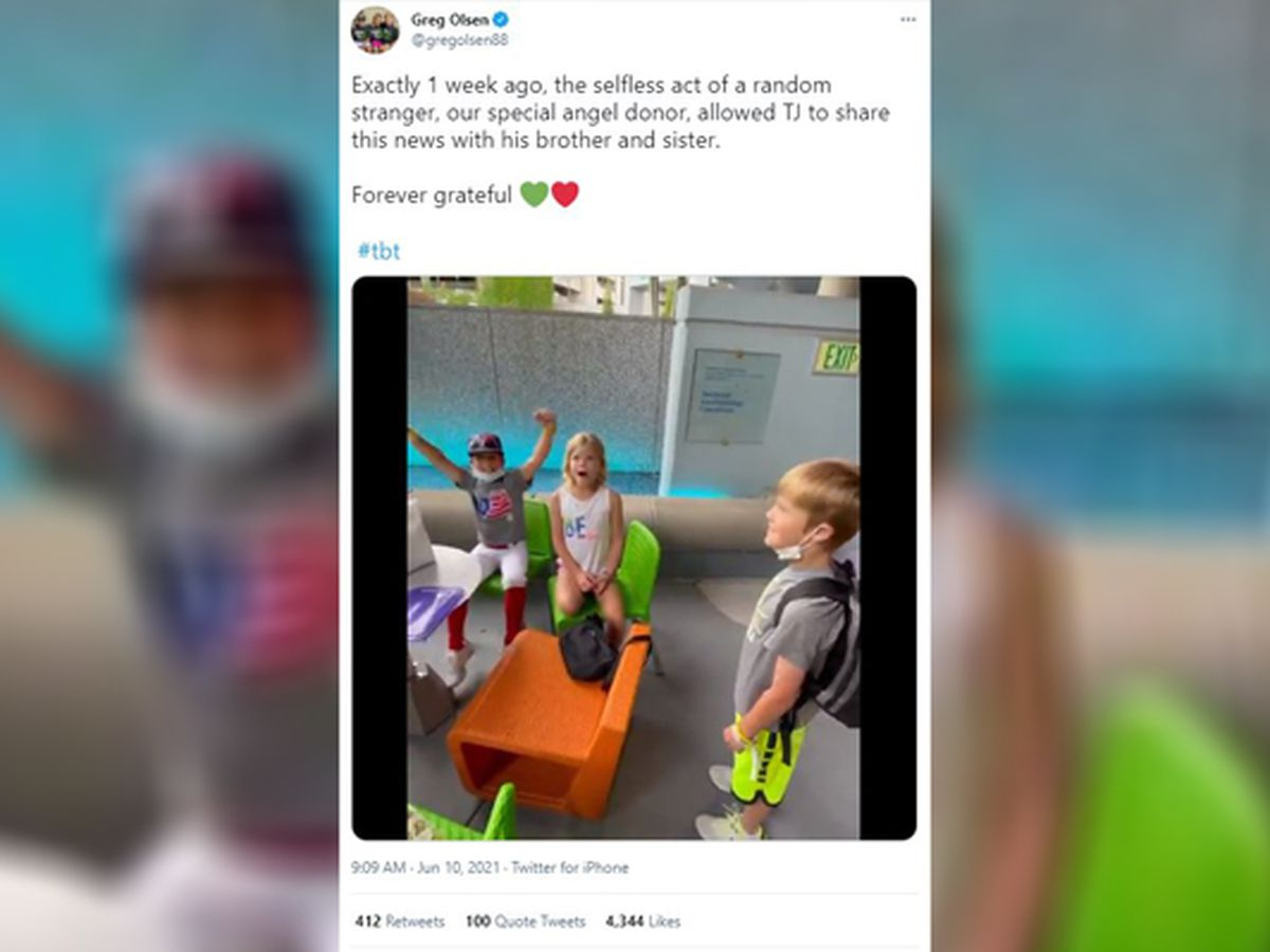 Former Panther Greg Olsen shares video of son telling siblings he found donor heart
