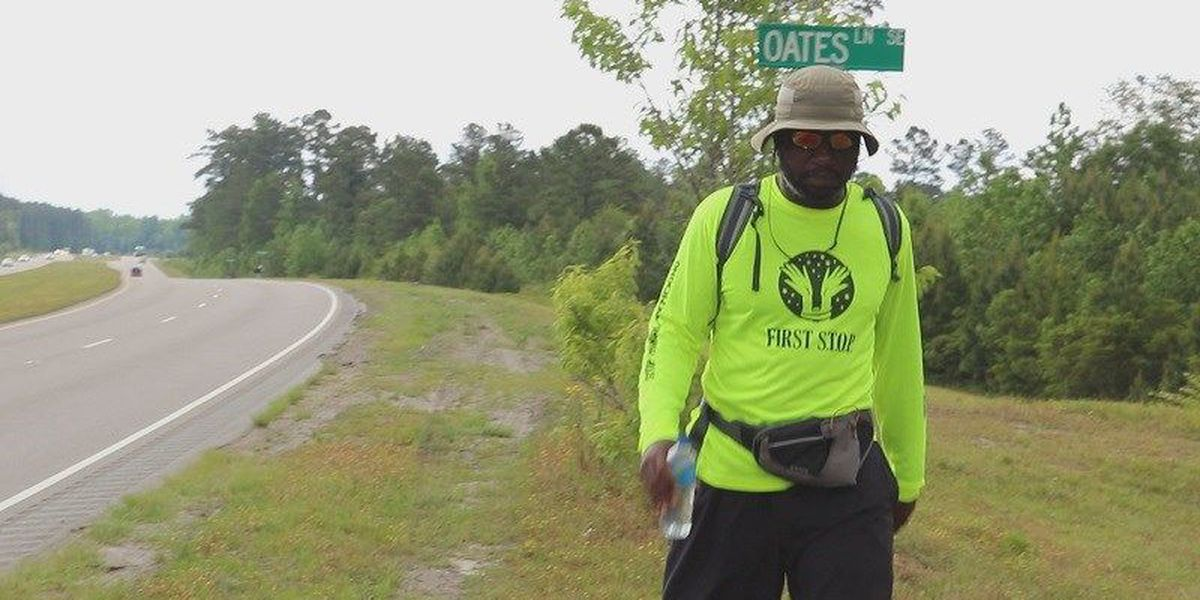 Man stops in Wilmington on walk from Ft. Lauderdale to D.C. to raise awareness about human trafficking