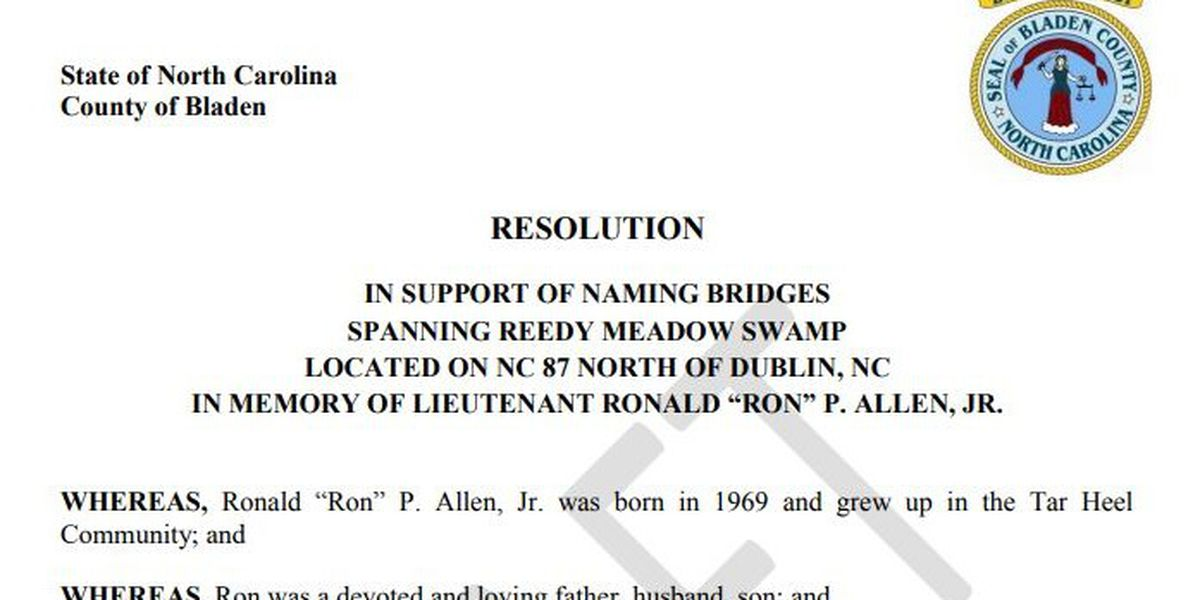 Bladen Co. bridge could be named after county's first fallen firefighter