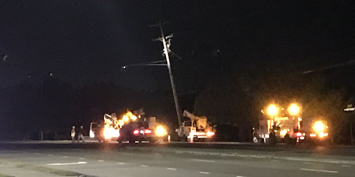 Car hits power pole leaving close to 600 customers without power