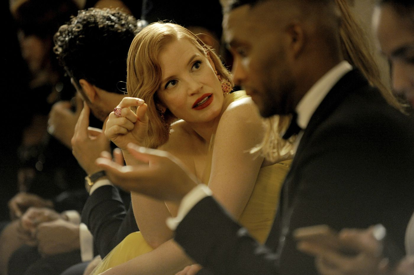 Jessica Chastain chats before the start of the Ralph Lauren 50th Anniversary Fashion Show during New York Fashion Week, Friday, Sept. 7, 2018. (AP Photo/Diane Bondareff)