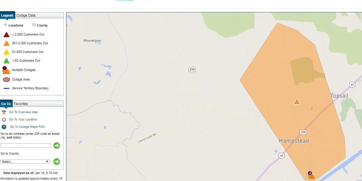 TRAFFIC ALERT: Wreck causes power outage, delays on Hwy. 17 in Hampstead area