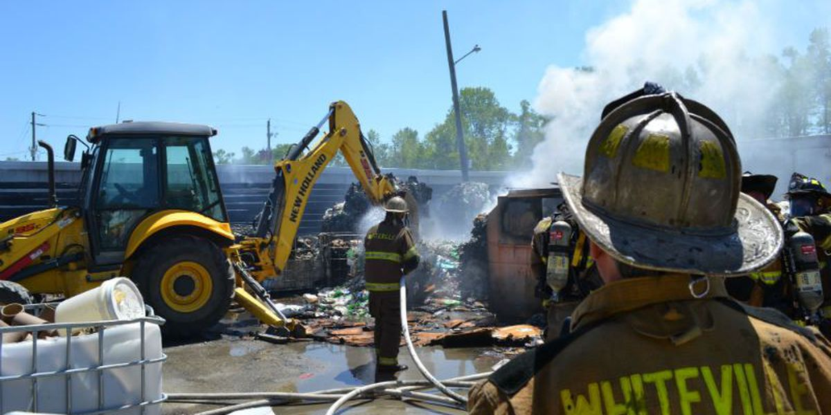 Firefighters extinguish fire at Whiteville recycling center