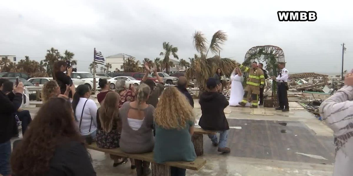 First responders wed on slab after Hurricane Michael destroys home
