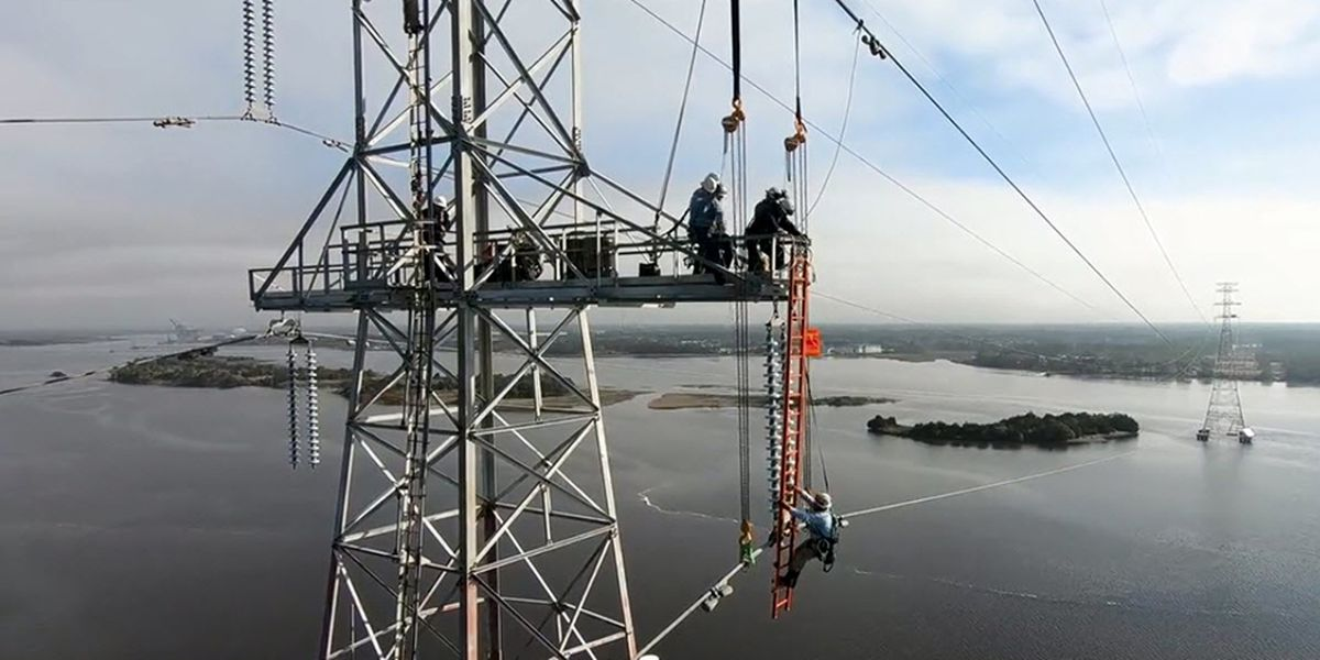 Duke Energy upgrades transmission tower in the Cape Fear River