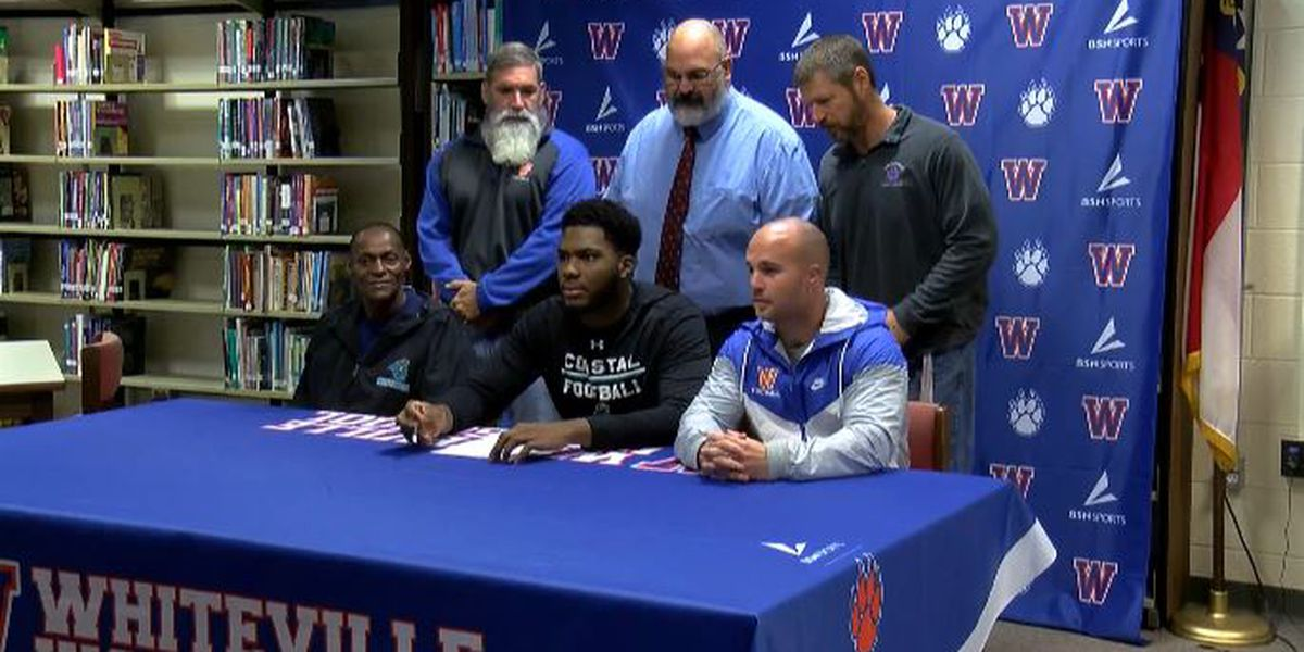 Whiteville football standout signs with Coastal Carolina