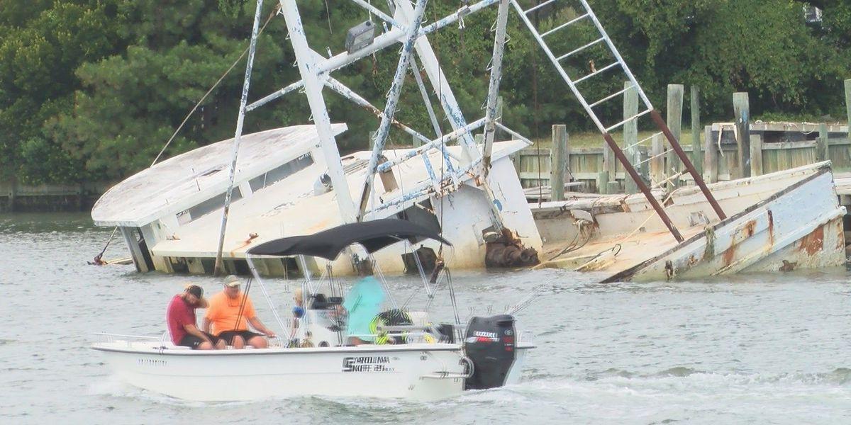 Beach town struggling to remove sunken shrimp boat