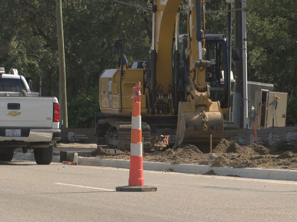 Crews working on bus stop project on Shipyard Blvd.
