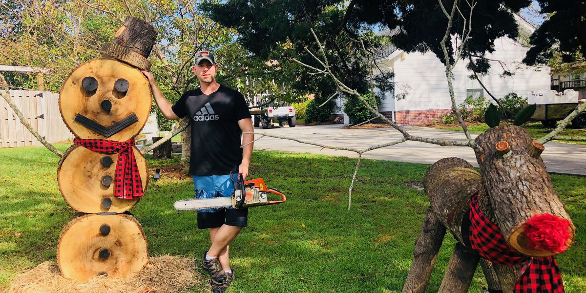 Wilmington man makes yard art from debris to 'spread love and kindness' after Florence