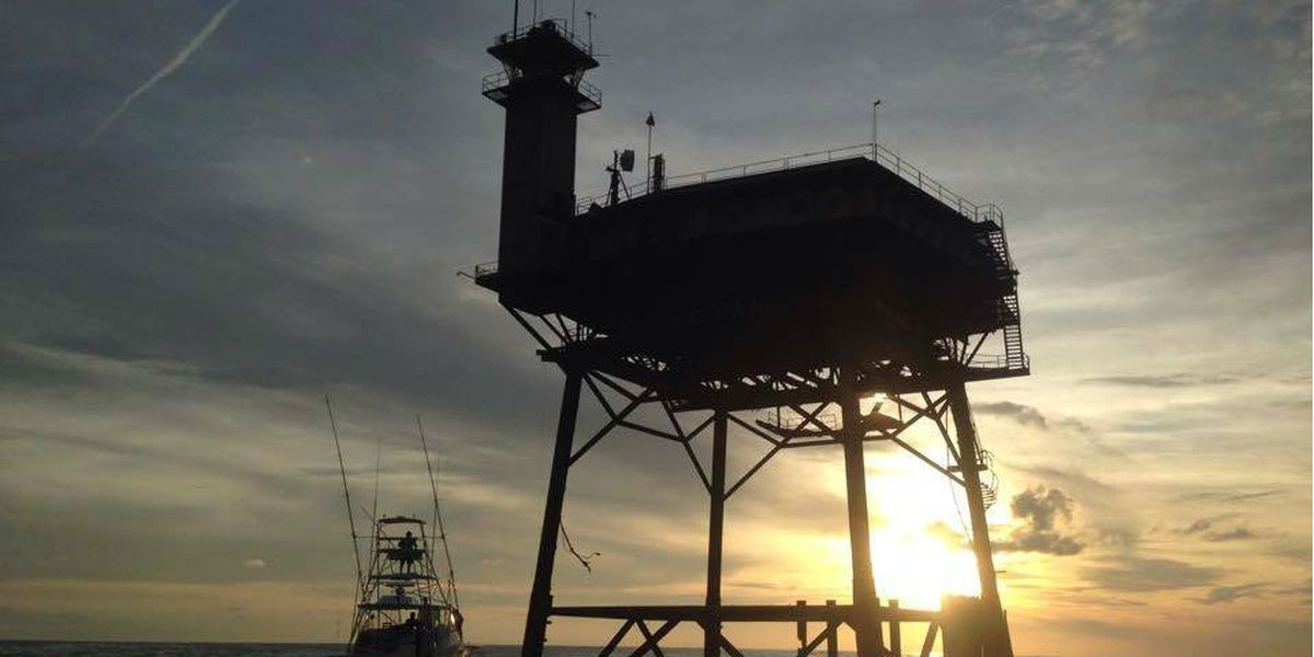 Riding out the storm: Couple staying 34 miles off the coast at Frying Pan Tower