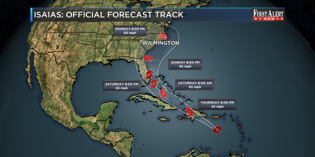 First Alert Forecast: Tropical Storm Isaias forms, SE NC in cone of uncertainty