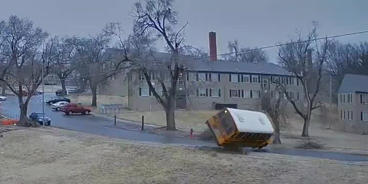 WATCH: School bus rolls over on icy road in Kansas City