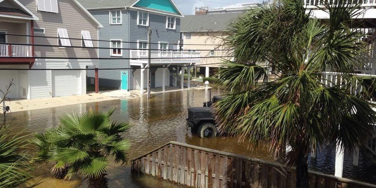 Flooding affects Canal Drive on Carolina Beach