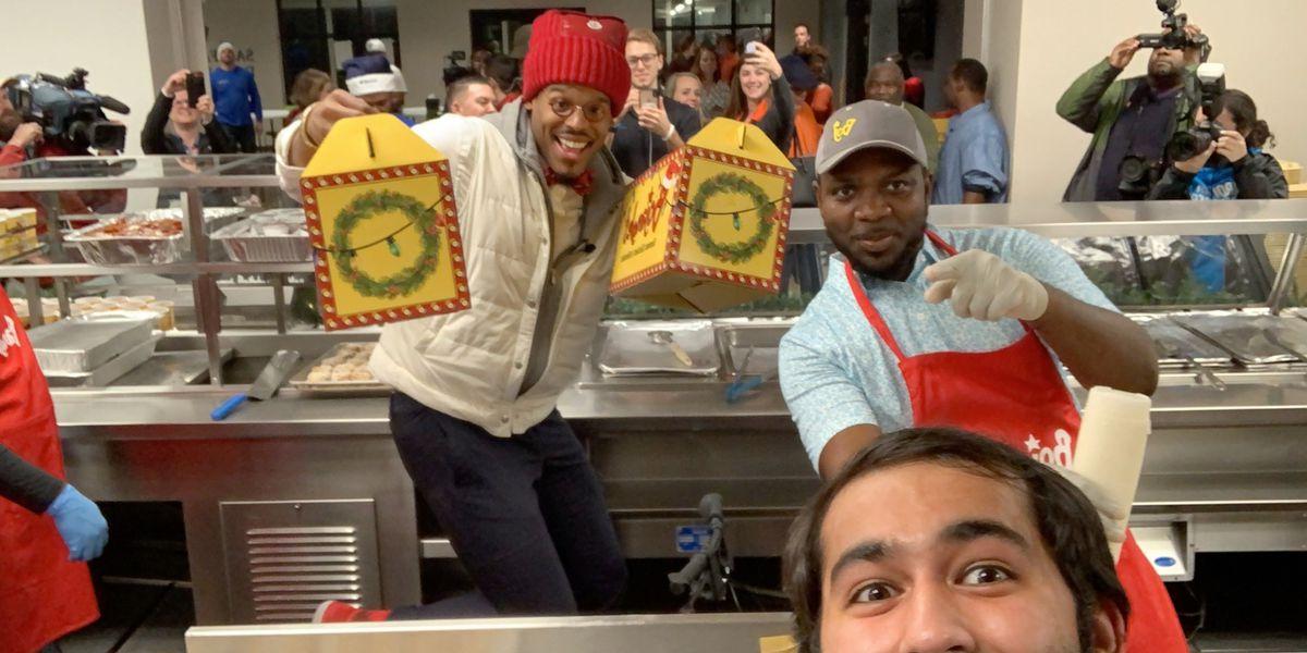 'Santa Cam' Newton and Bojangles' feed, gift 200 Men's Shelter guests