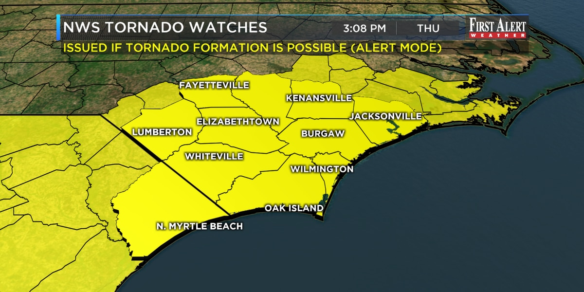 First Alert Forecast: Tornado Watch in effect as Sally's remnants slide through SE NC