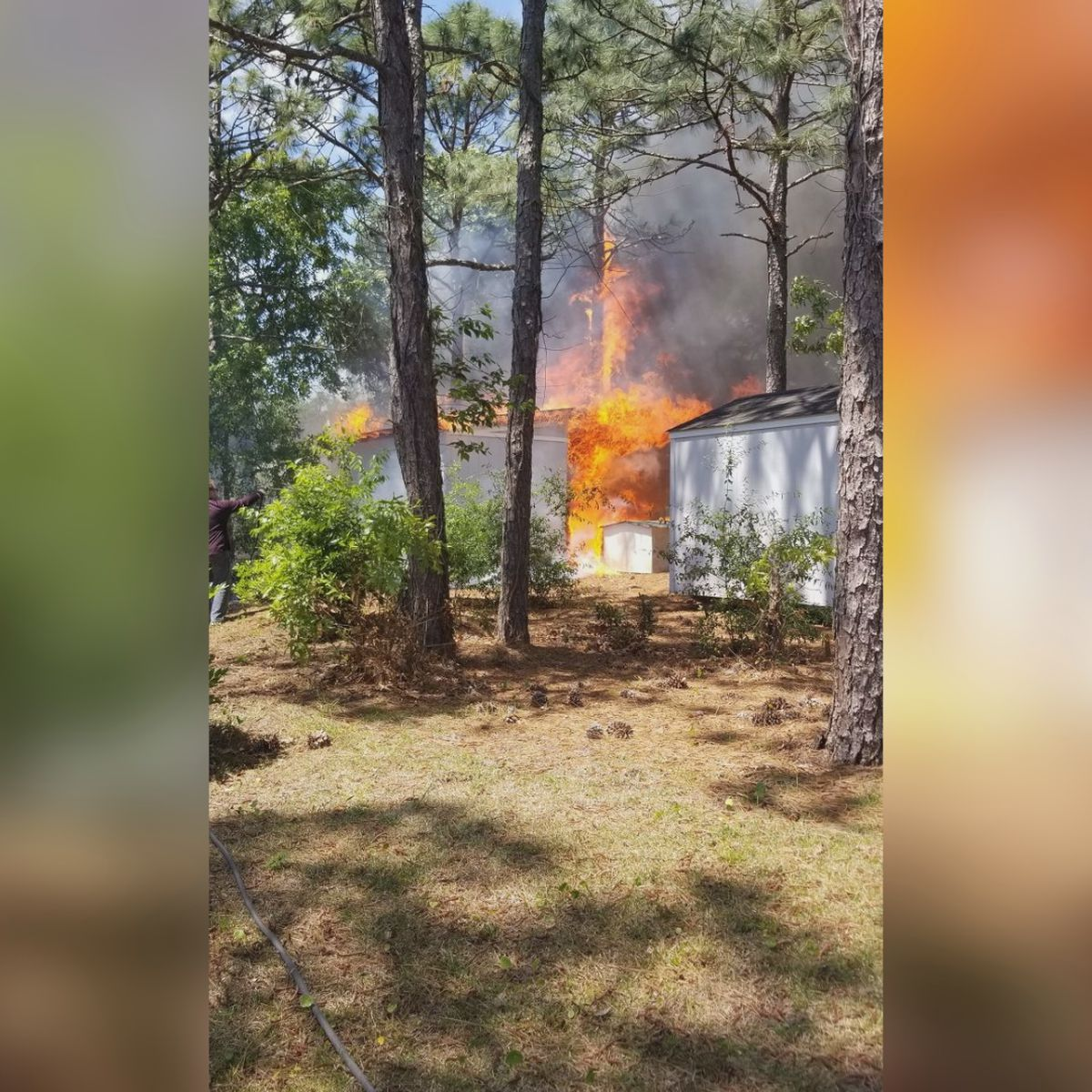 Crews respond to shed fire in New Hanover County