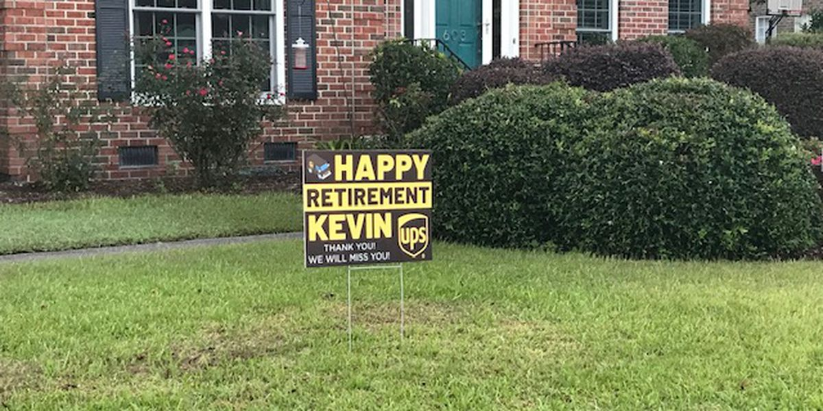"""Stuff like that warms your heart"": Wilmington community wishes UPS driver happy retirement with yard signs"