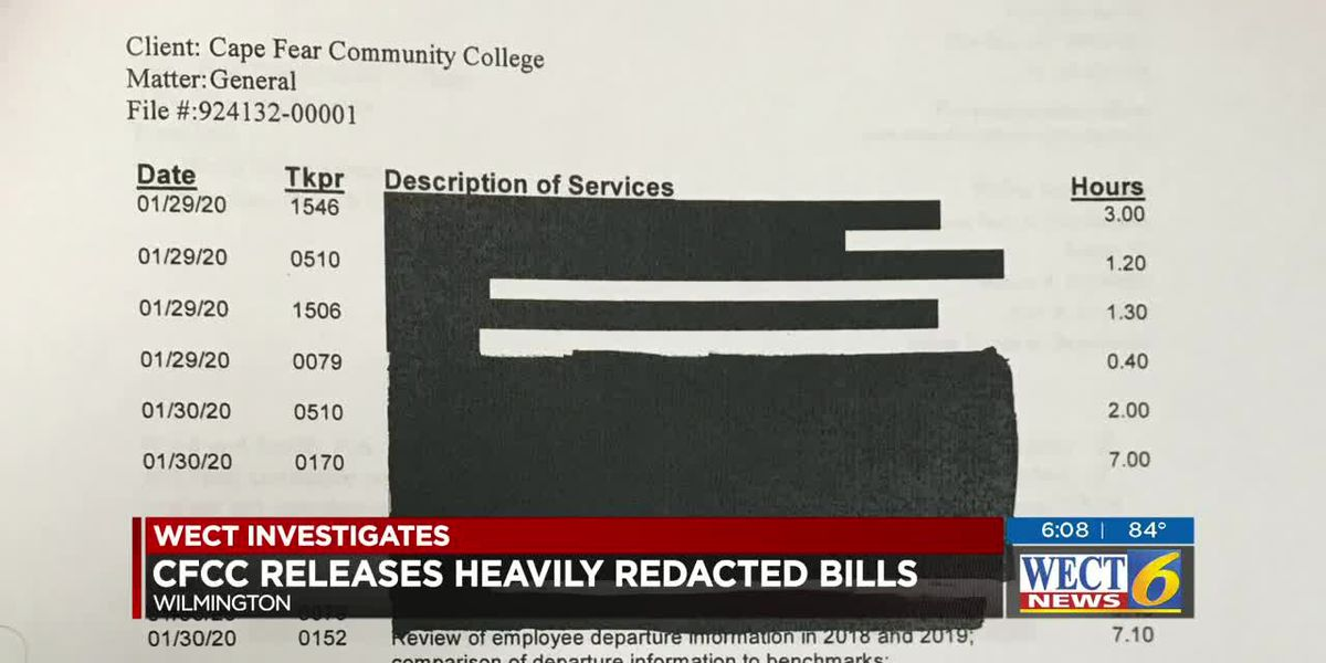 CFCC releases heavily redacted bills following public records request