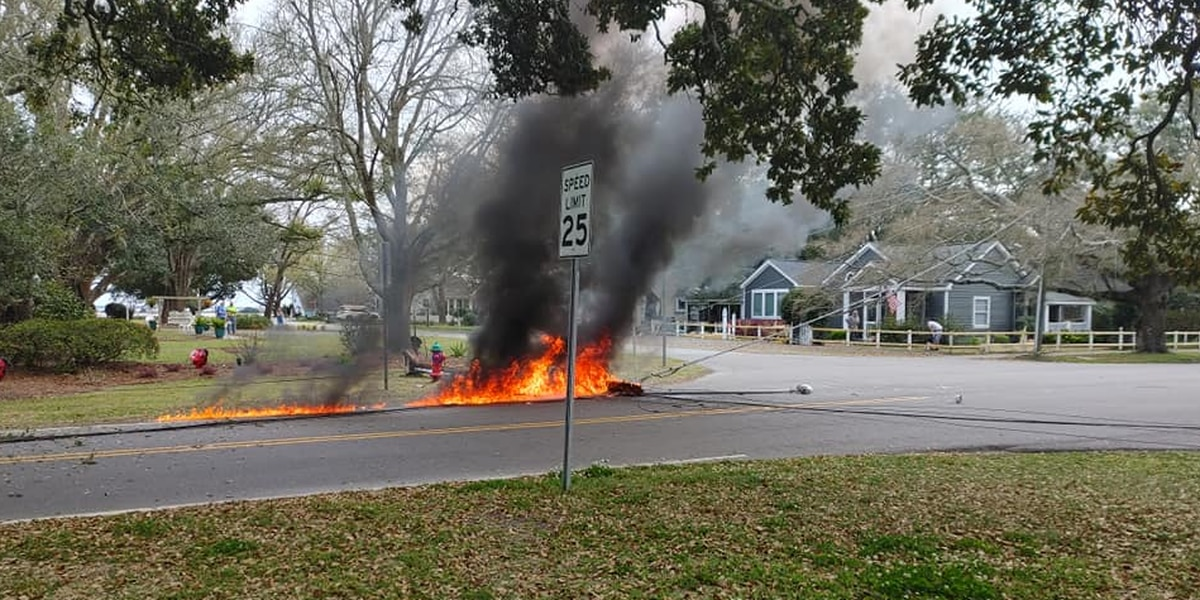 Downed power lines cause fire after wreck in Southport