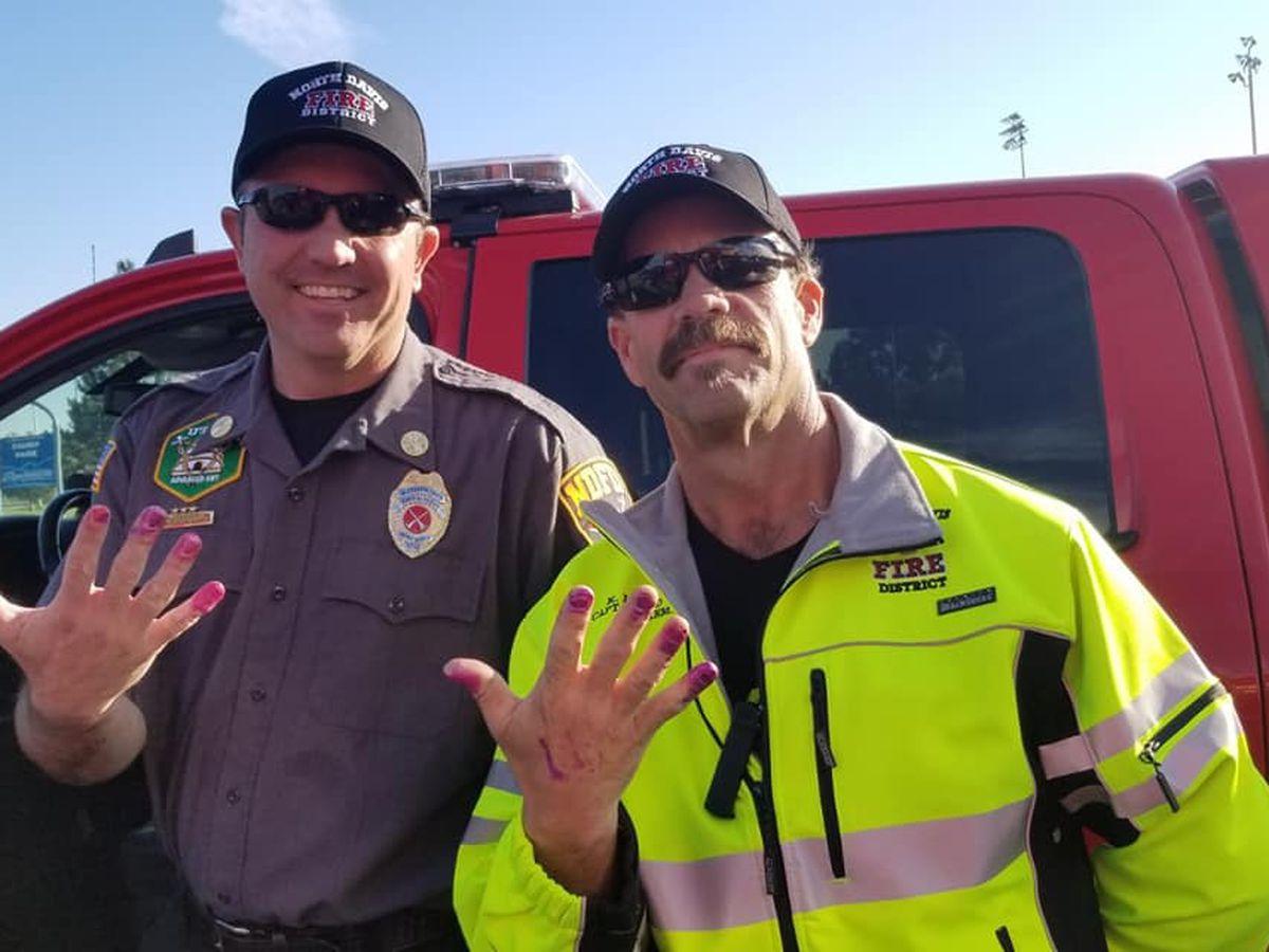 Utah firefighters get purple manicures aiding girl in crash
