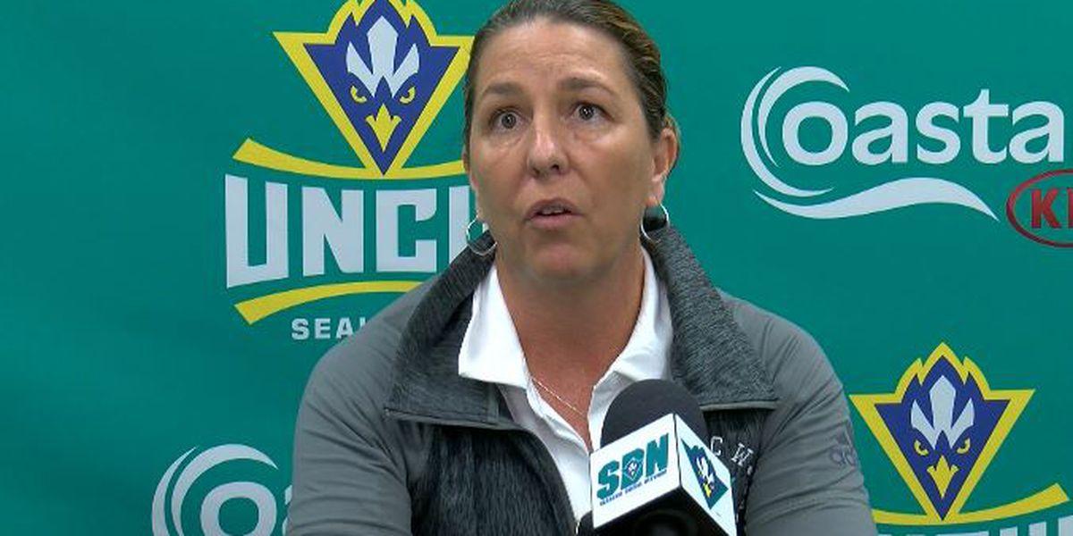 UNCW women's basketball coach Karen Barefoot returns to Seahawks practice