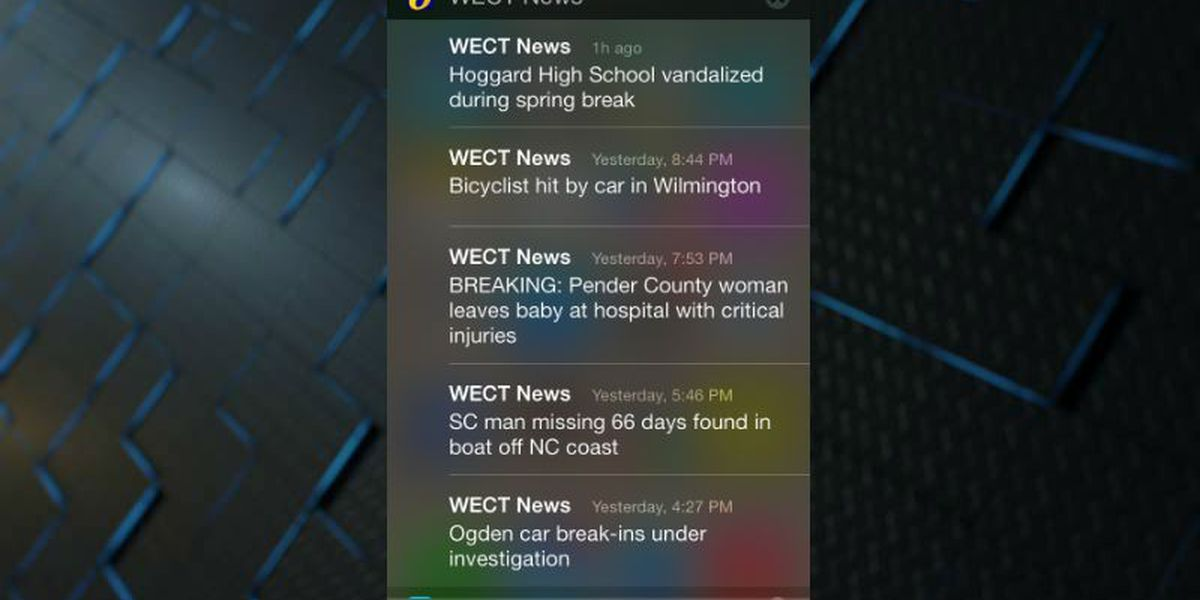 Choosing mobile alerts from the WECT News App